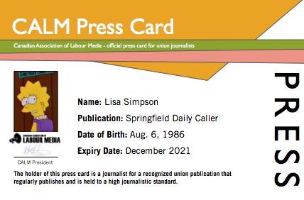 CALM Press Card
